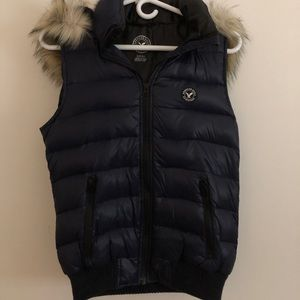 American eagle vest with hood